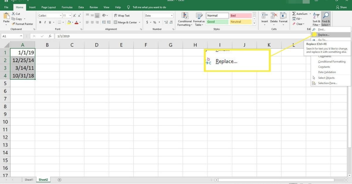 Find and Select in Excel.