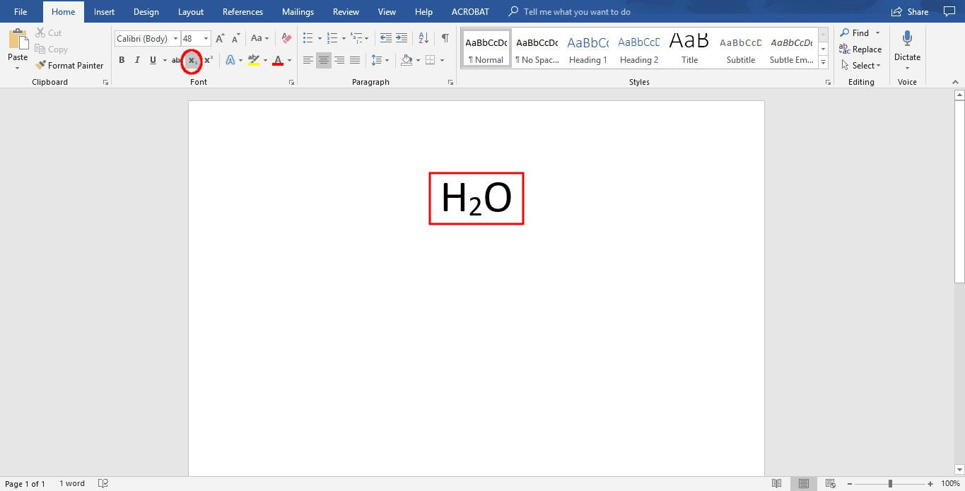 how to write subscript in word