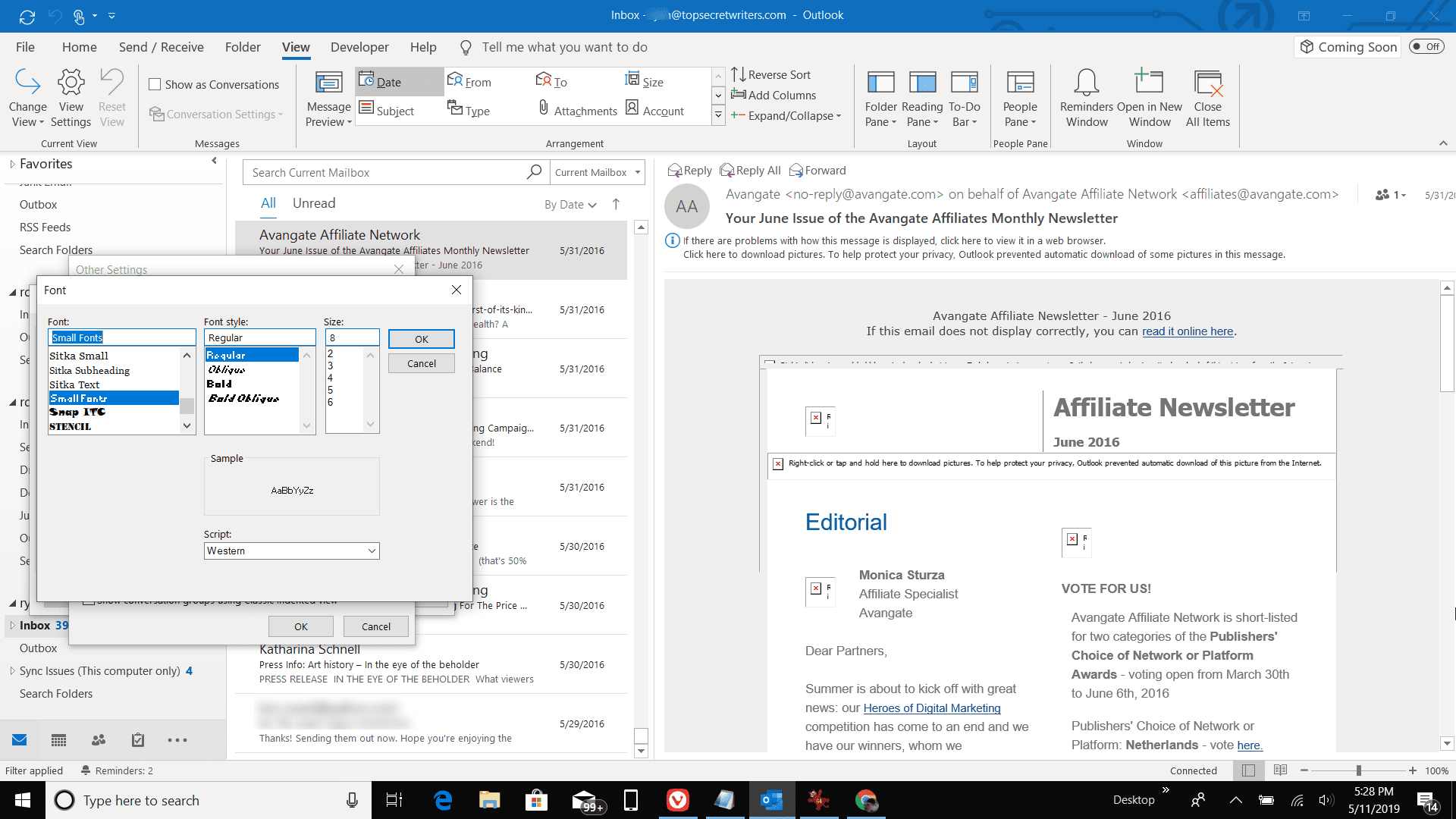 Screenshot of font settings in Outlook