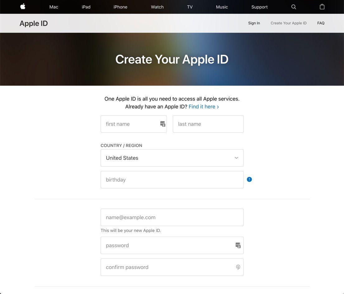 apple id create iphone 6