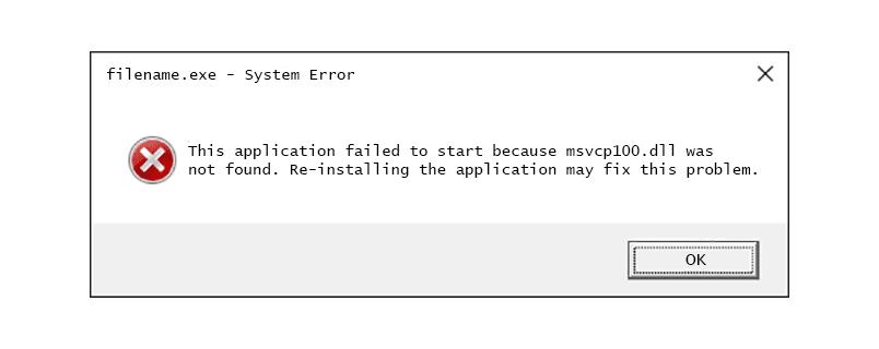 Msvcp100.dll Not Found error message
