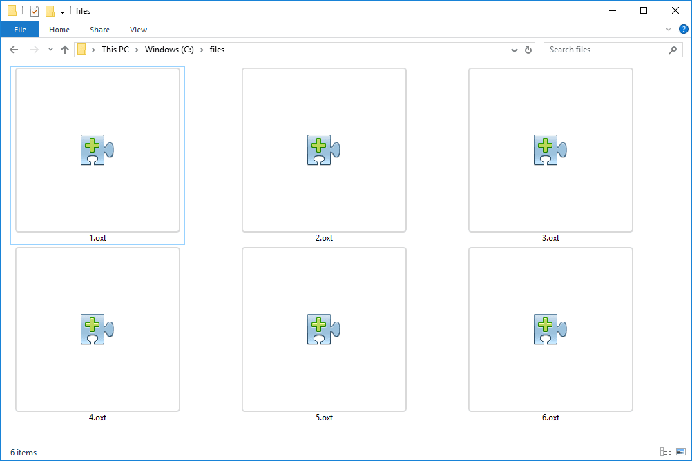 Screenshot of several OXT files in Windows 10