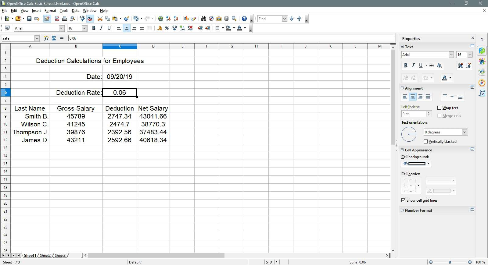 Cell C6 is selected in OpenOffice Calc.