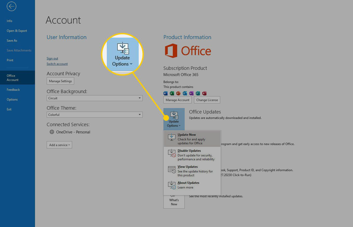 Office Account screen with Update Options highlighted