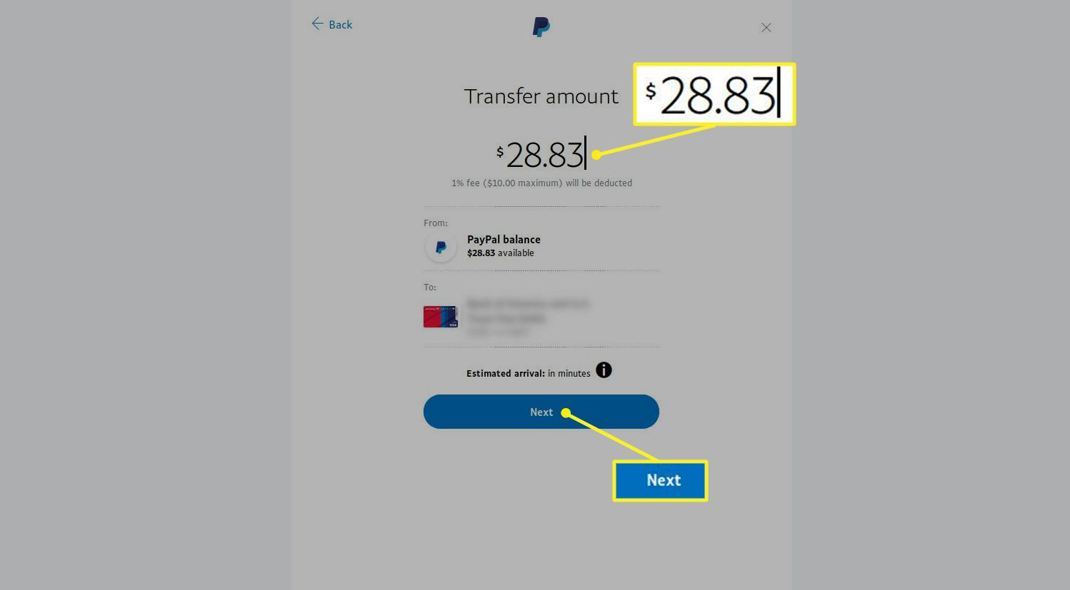 PayPal Transfer amount screen showing the amount entry field