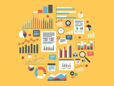 Analytics round illustration with charts.