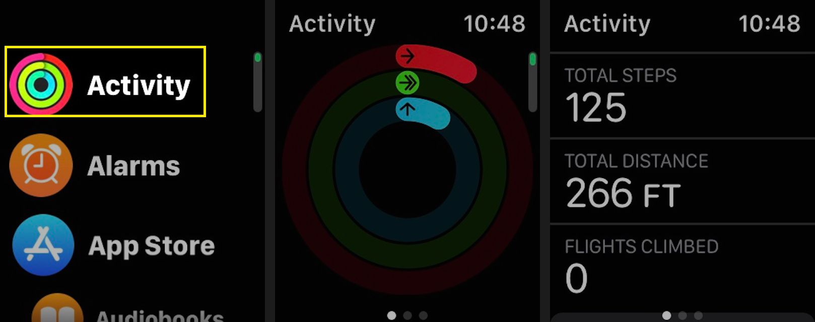To check your current step and stair-climbing count, launch the Activity app on your Apple Watch, then scroll down to view your current total steps, total distance, and flights climbed.