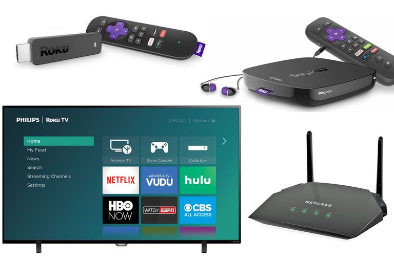 Roku Streaming Stick, Ultra, TV, and Netgear R6260 WiFi Router