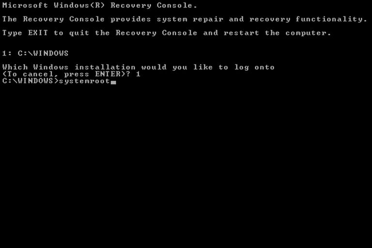 systemroot command in Windows Recovery Console