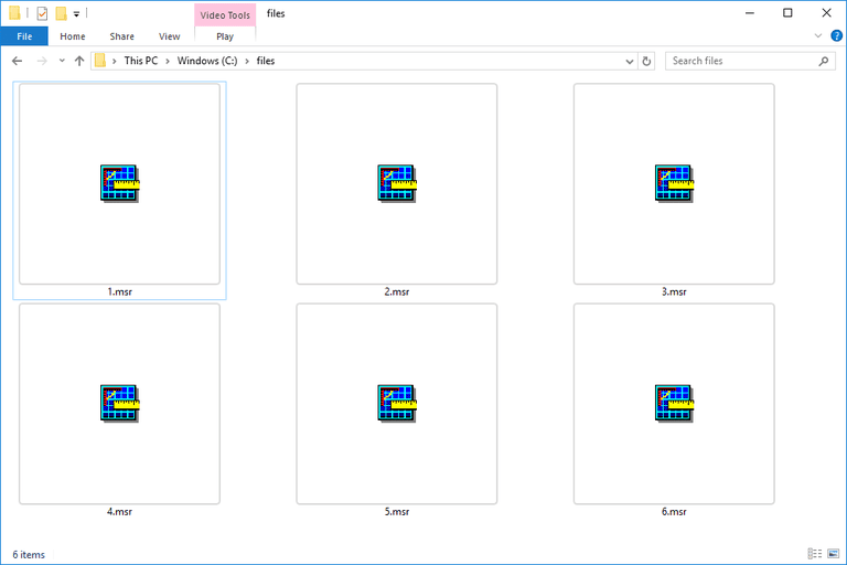Screenshot of several MSR files in Windows 10 that open with Image Measurement Software