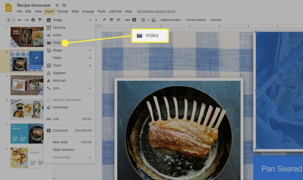 The location of the insert video option on Google Slides.