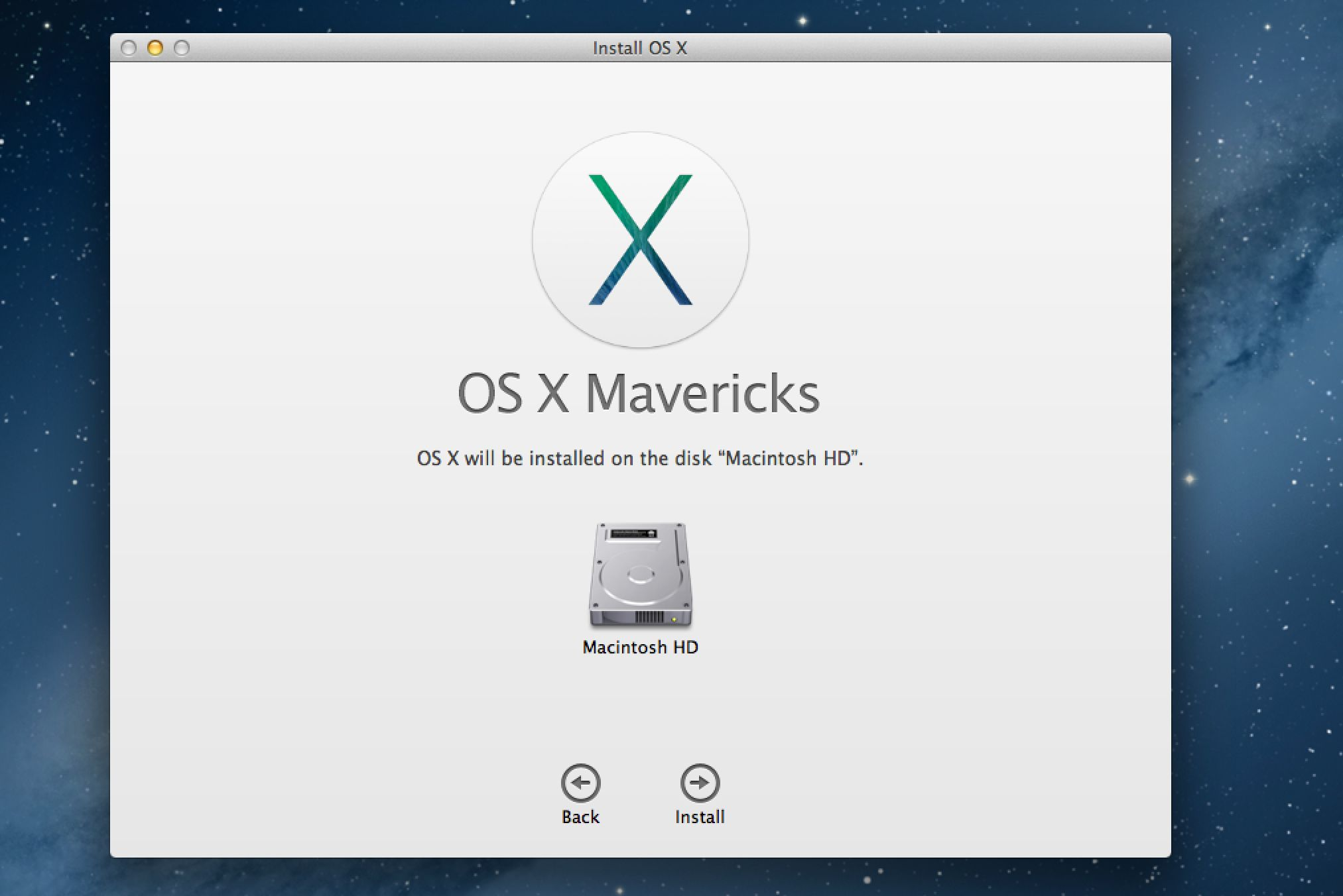 Launch The OS X Mavericks Installer