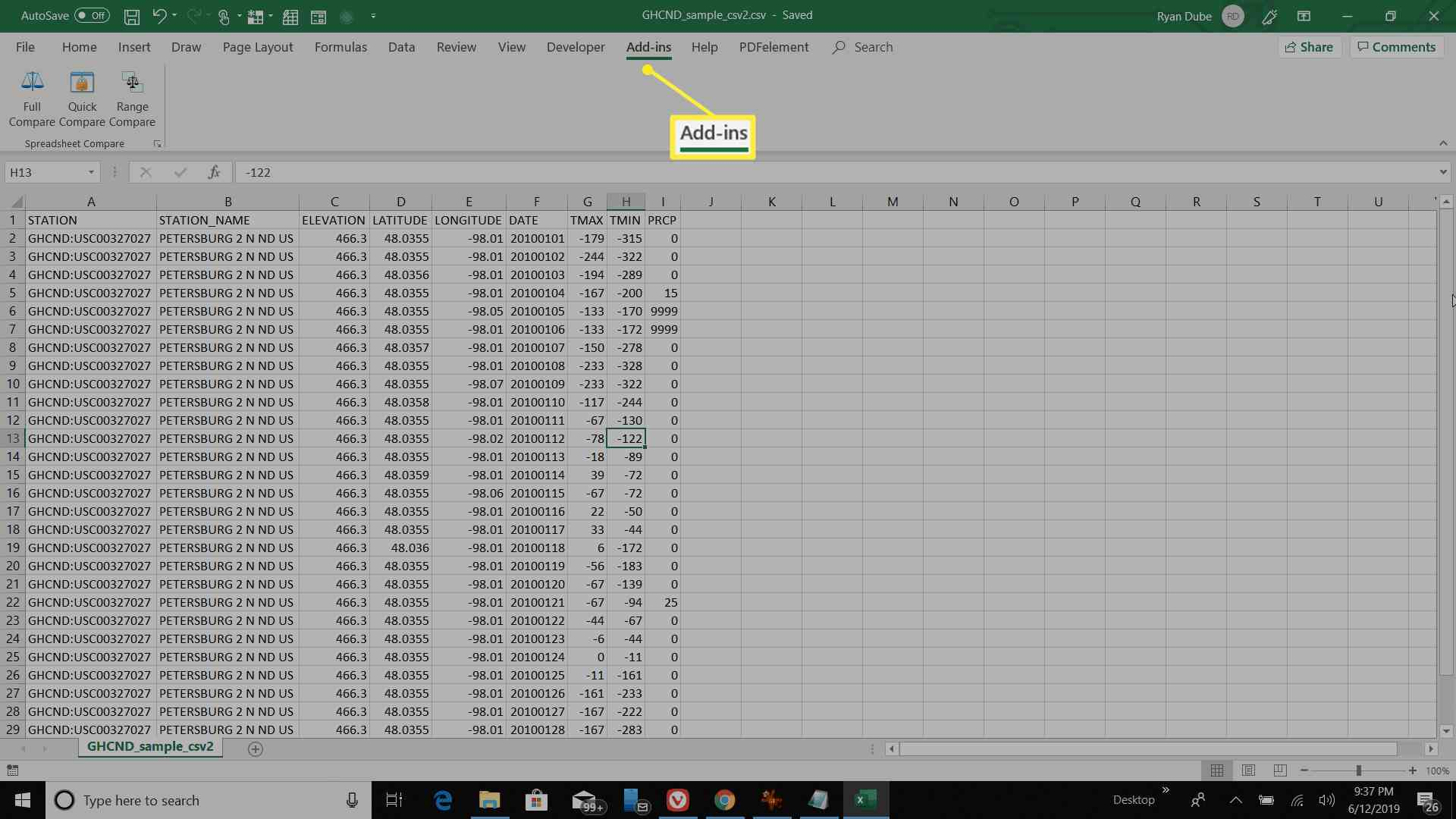 Excel with Add-ins tab highlighted