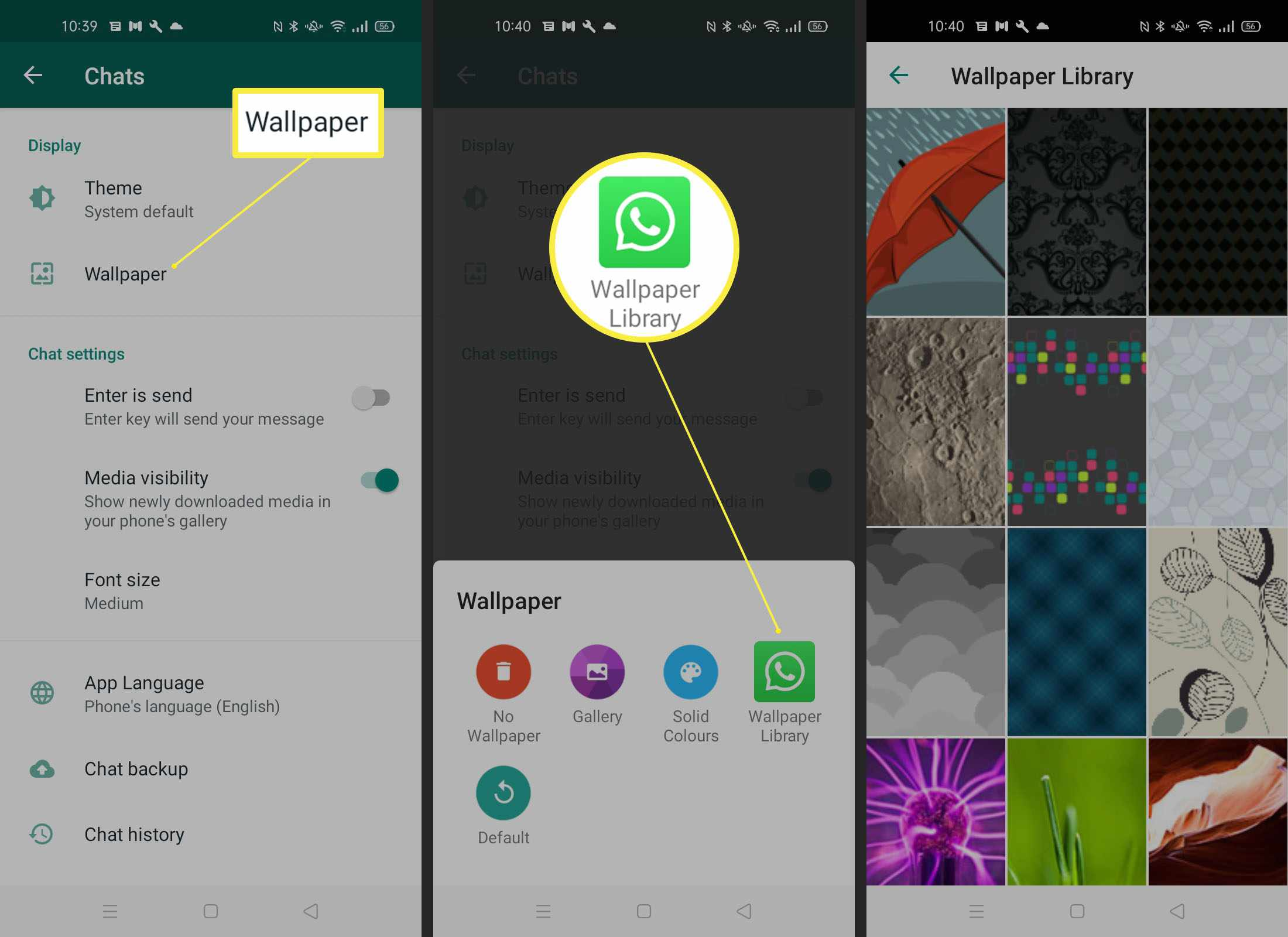 Steps needed to add wallpaper from Wallpaper Library on WhatsApp Android