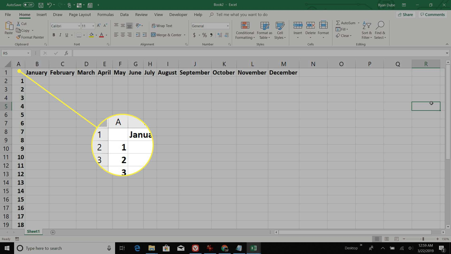 adding monthly days in Excel