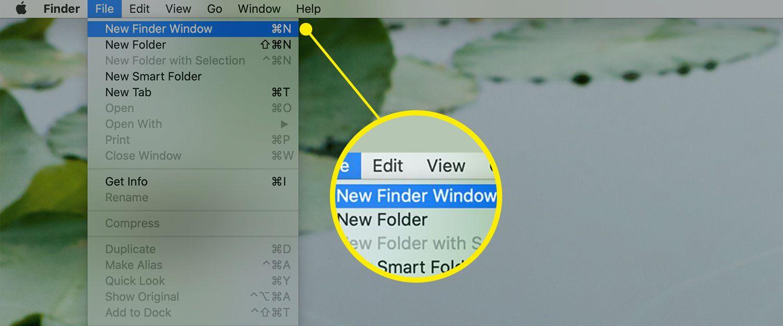 Apple menu bar showing File drop-down menu