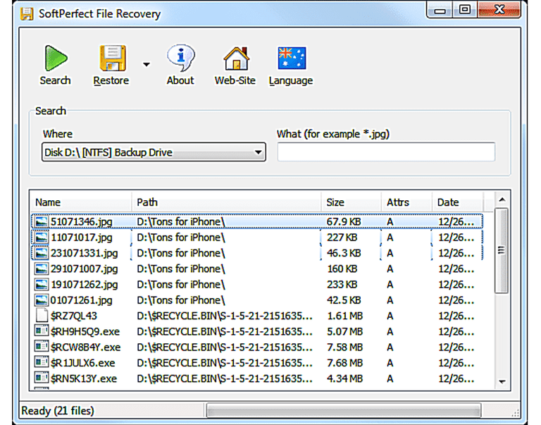 SoftPerfect File Recovery main page