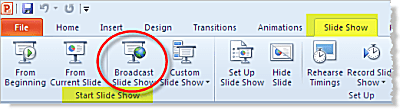 Broadcast Slide Show is a new feature in PowerPoint 2010 (Beta)