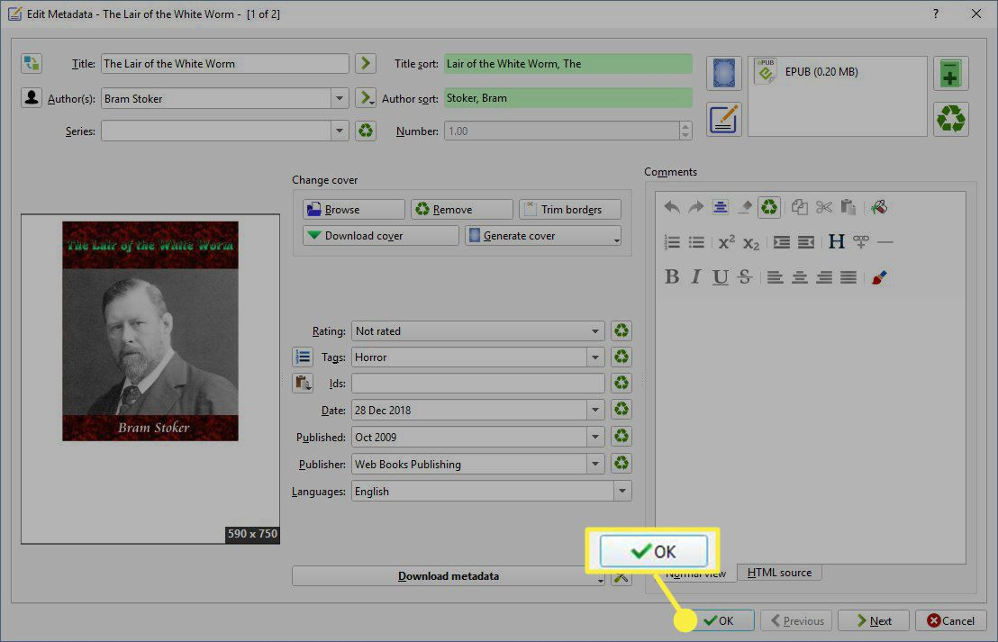 Select OK to exit out of metadata editing