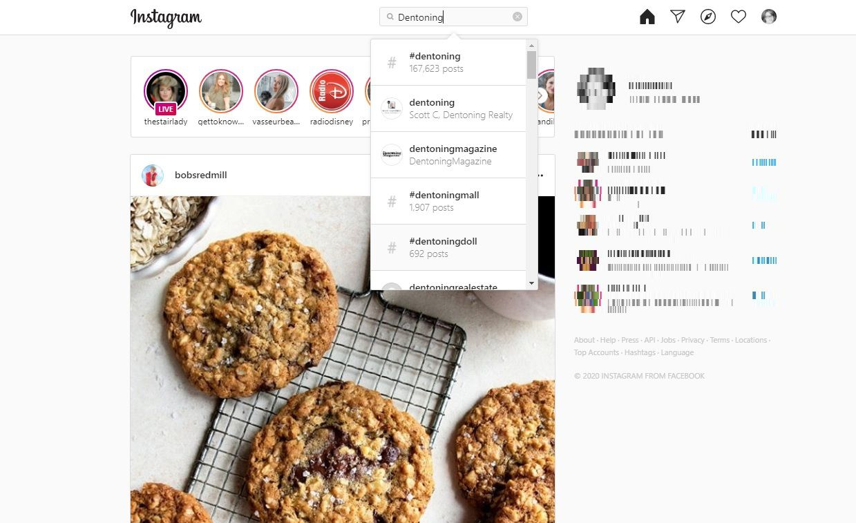 Instagram search example