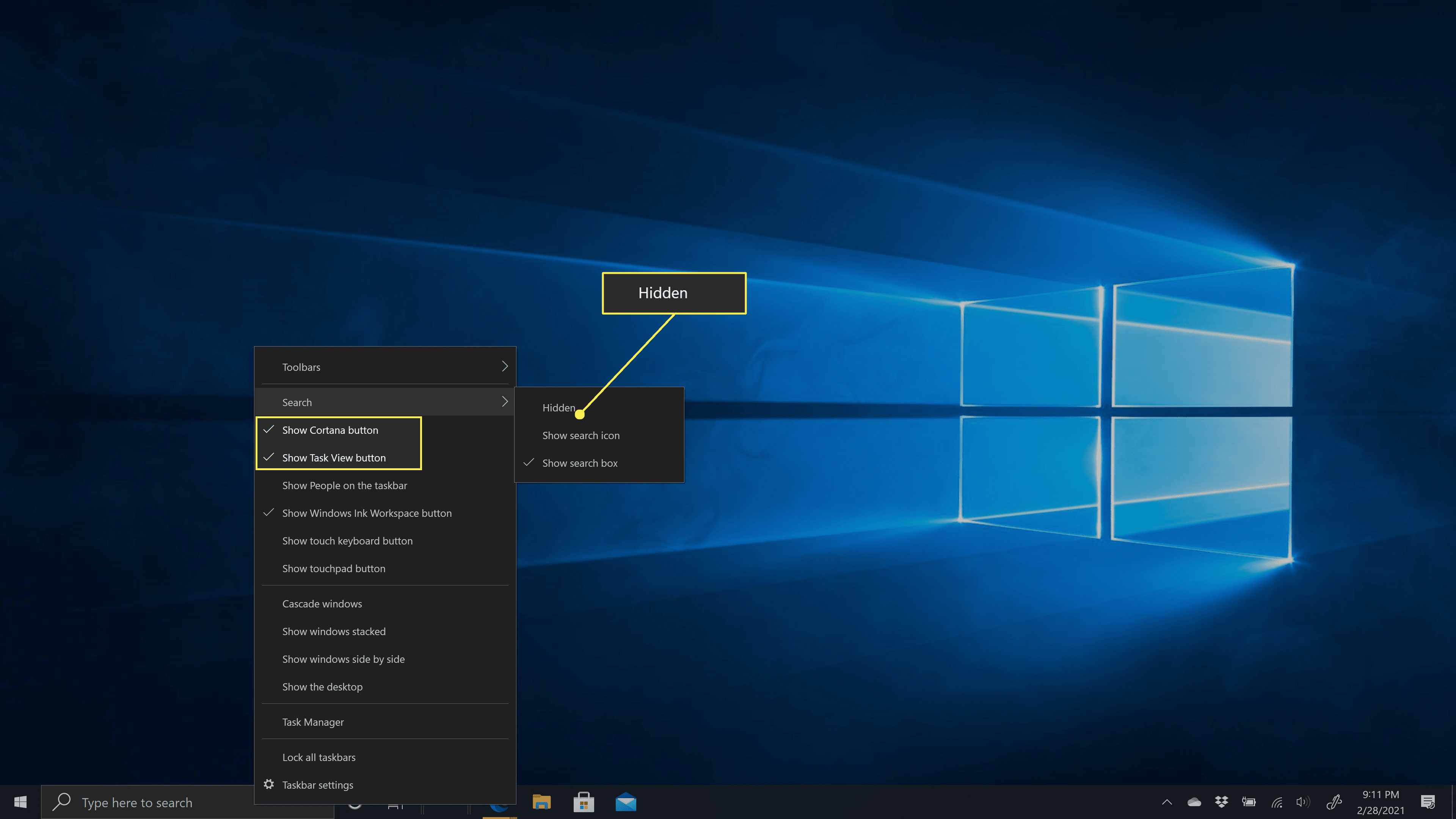 Removing the search box and Cortana from Windows 10.