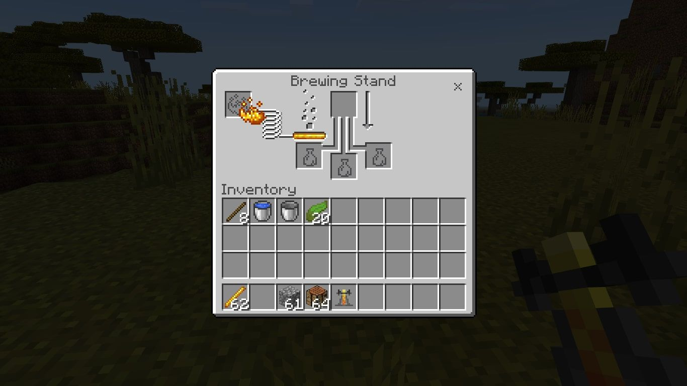 Add the Blaze Powder to the far left box to activate the brewing stand.