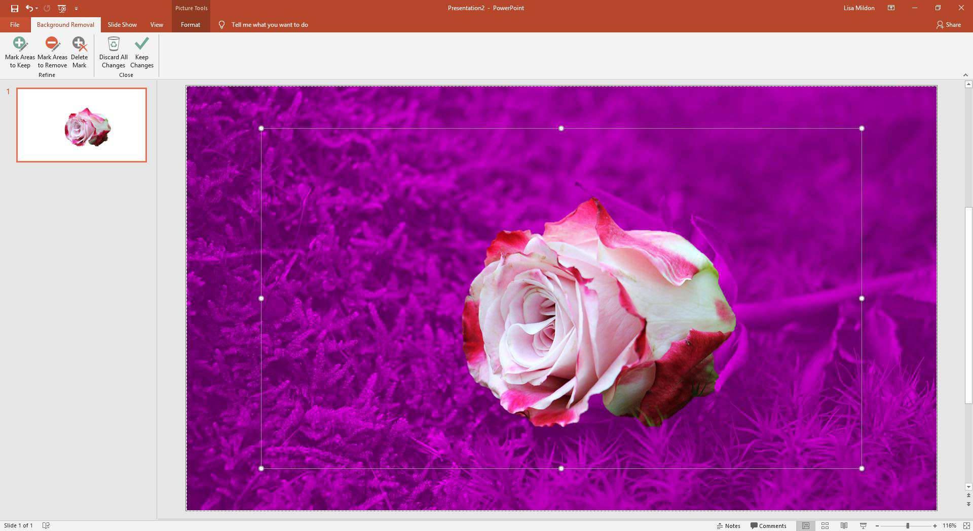 Background removal options in PowerPoint.