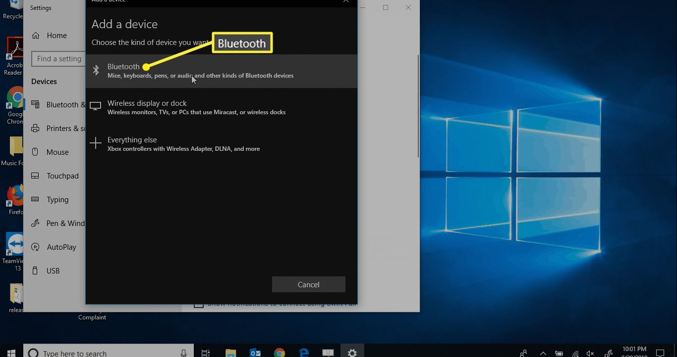 Add a device options in Windows 10