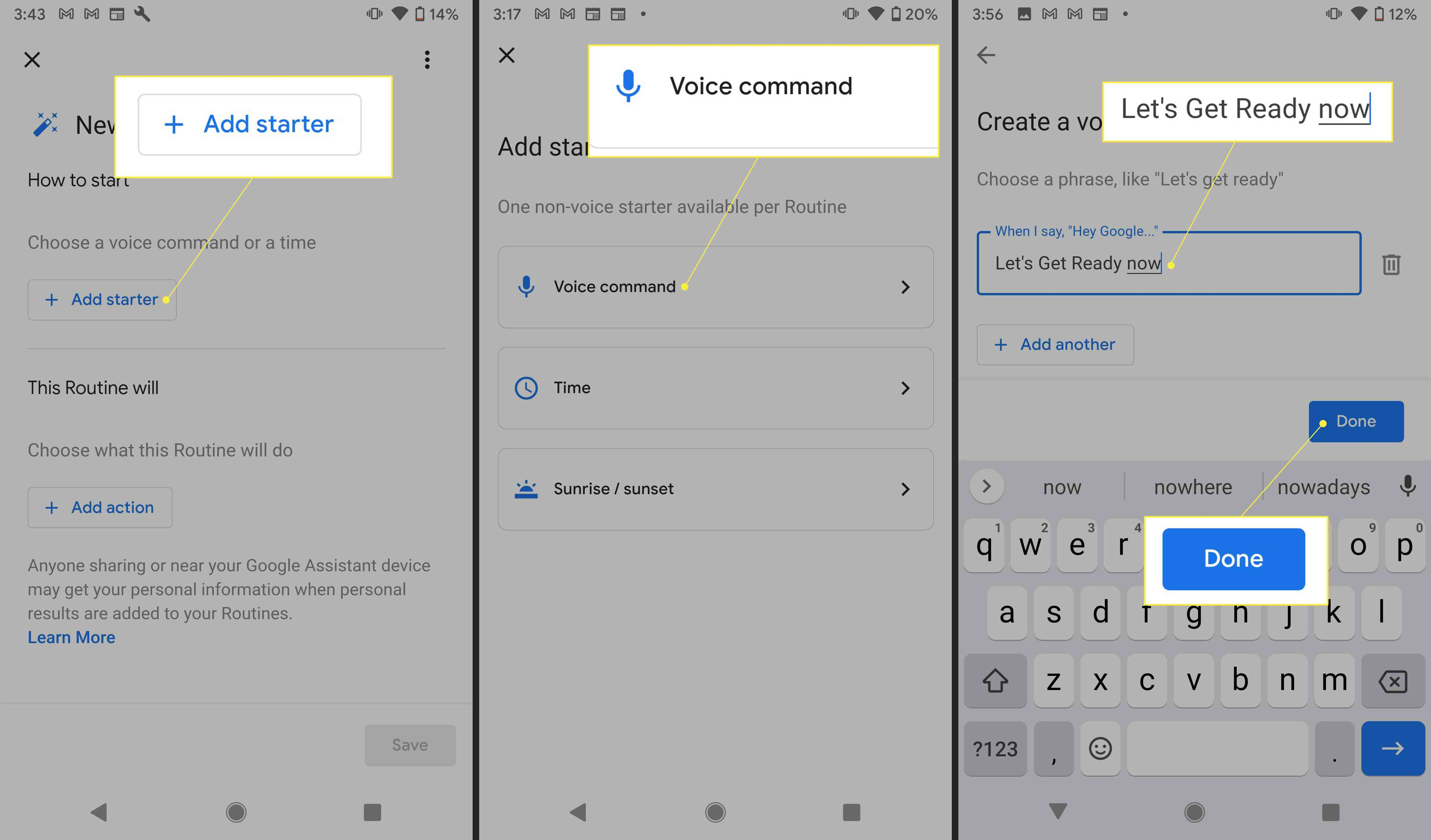 Google Assistant settings with