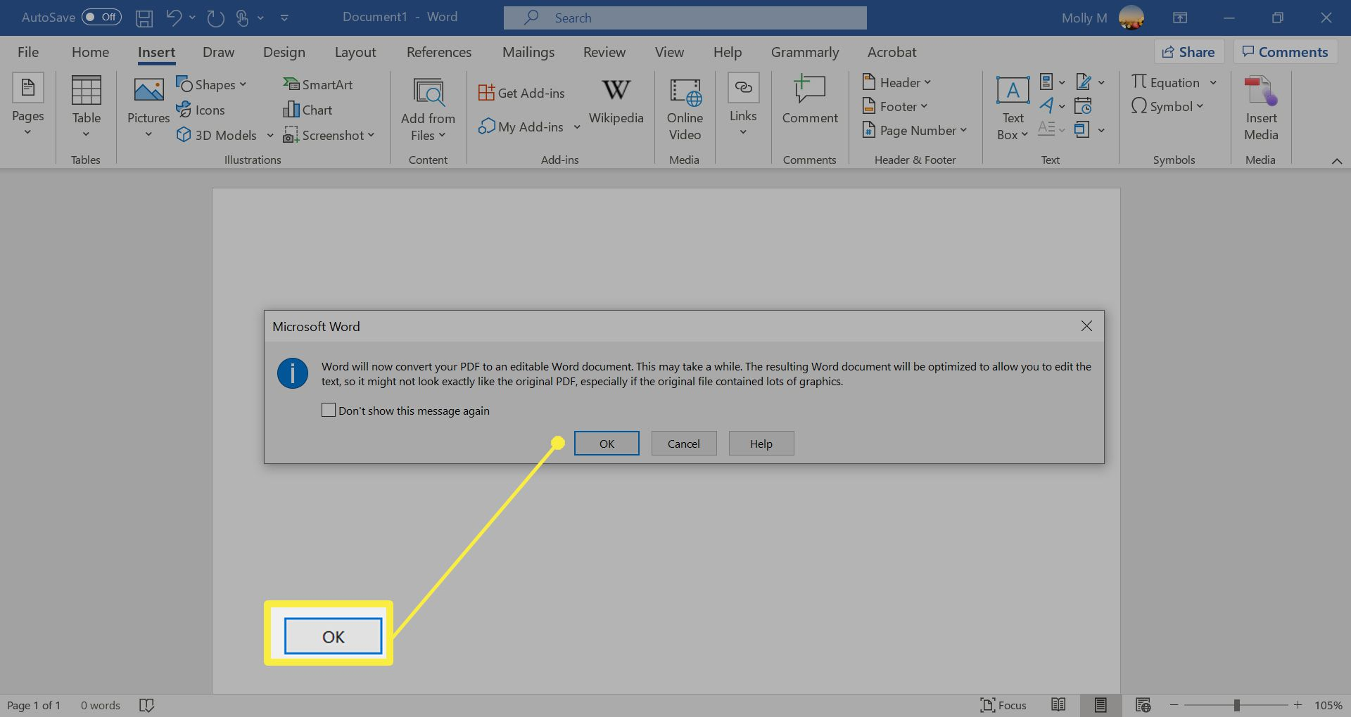 Inserting text from a PDF into Word.