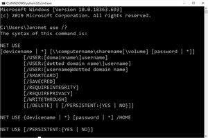 net use help command in Windows 10 Command Prompt
