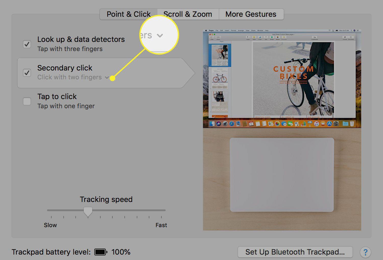 The More menu next to Secondary Click