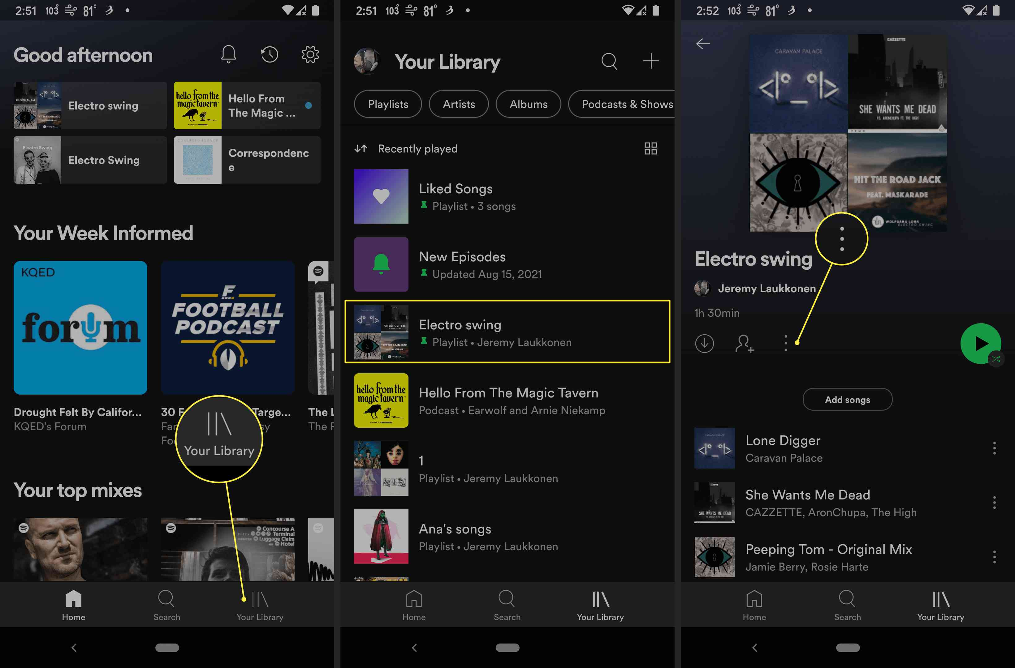 Your Library, Electro Swing playlist, and three dot menu highlighted in Spotify app