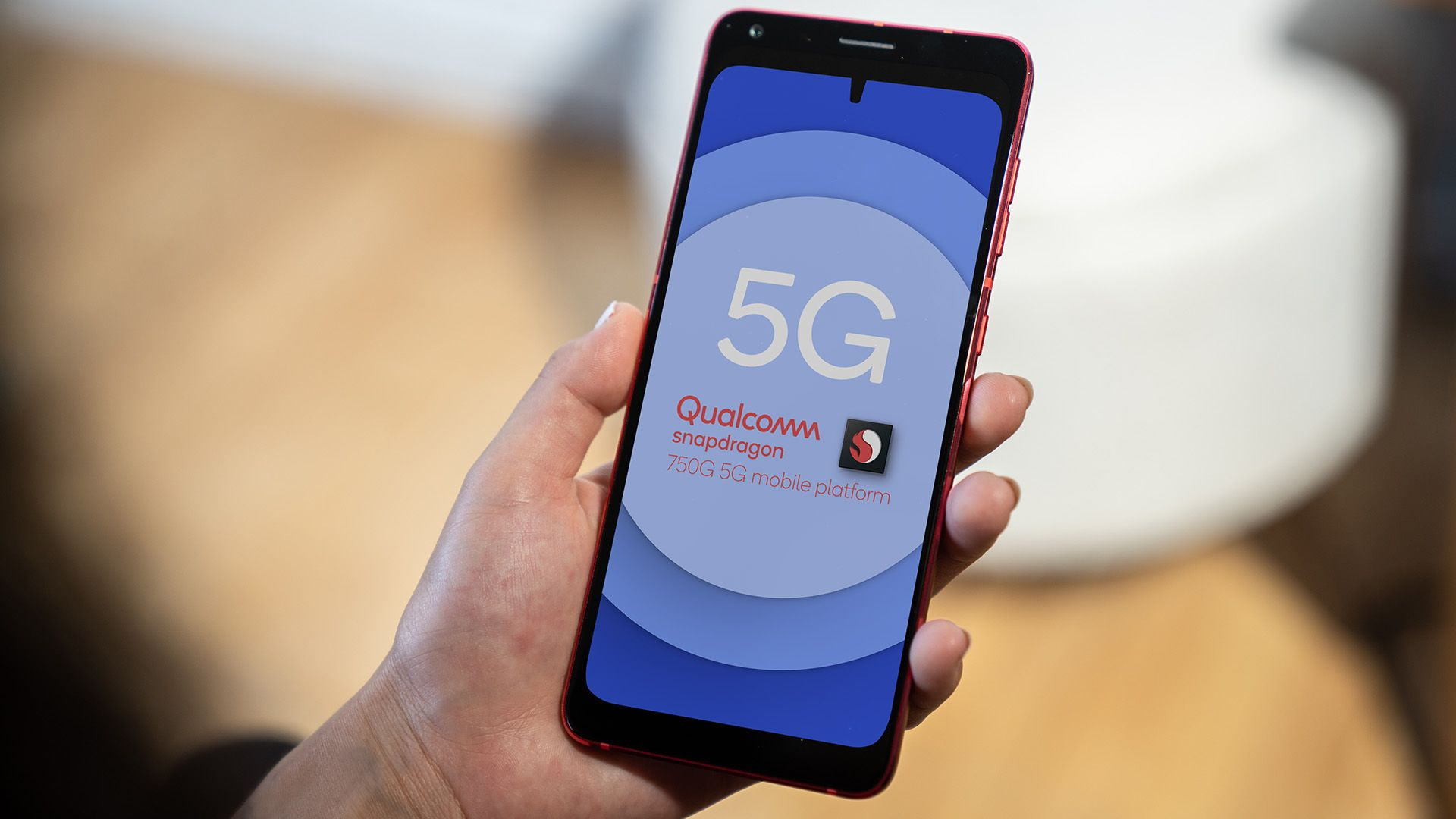 A smartphone running a Qualcomm 5G Snapdragon chipset