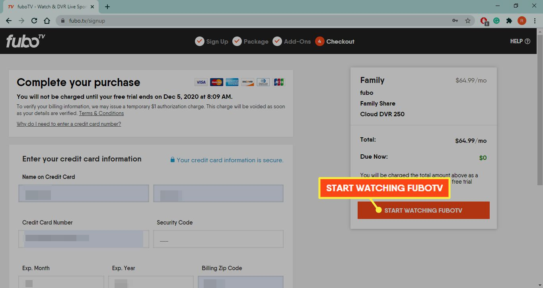 Start Watching fuboTV on fuboTv sign up page