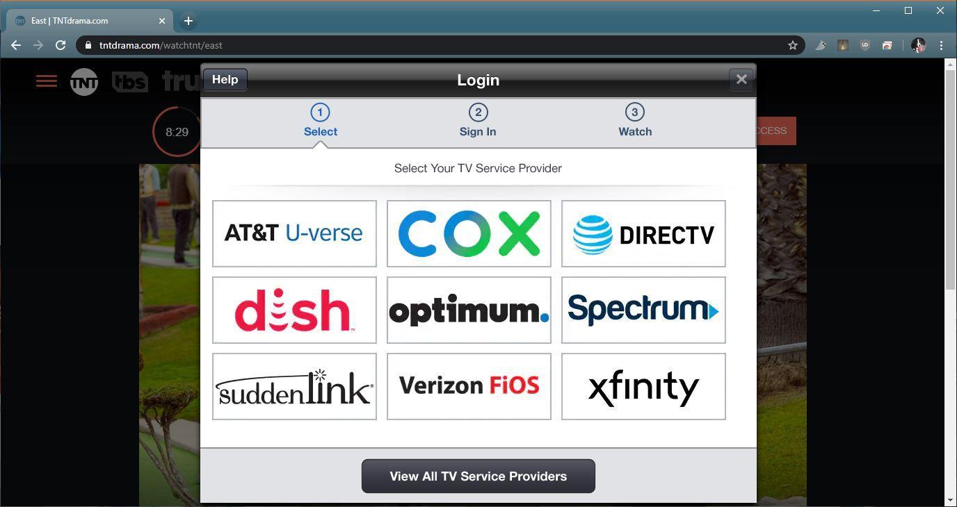 A screenshot of the provider selection menu on TNTDrama.com.