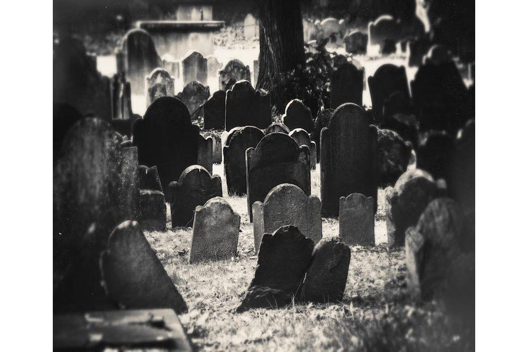 Tombstones in an old graveyard.