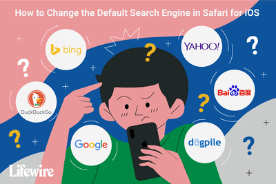 An illustration of a user choosing a default search engine on iOS.