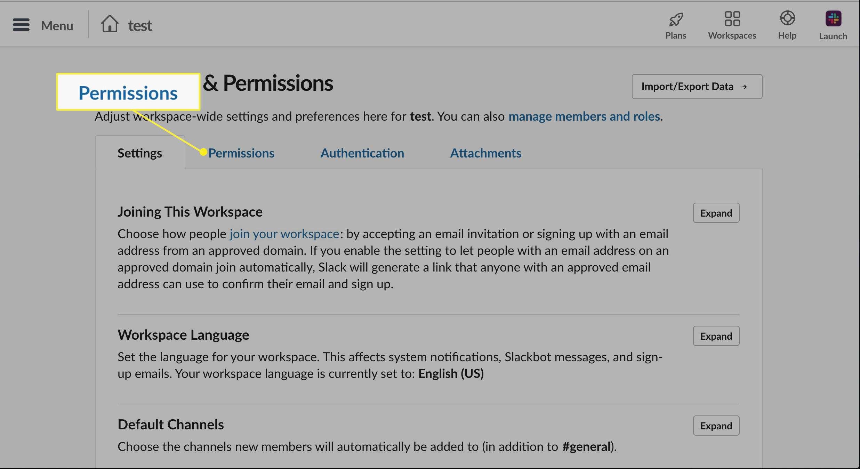Permissions tab