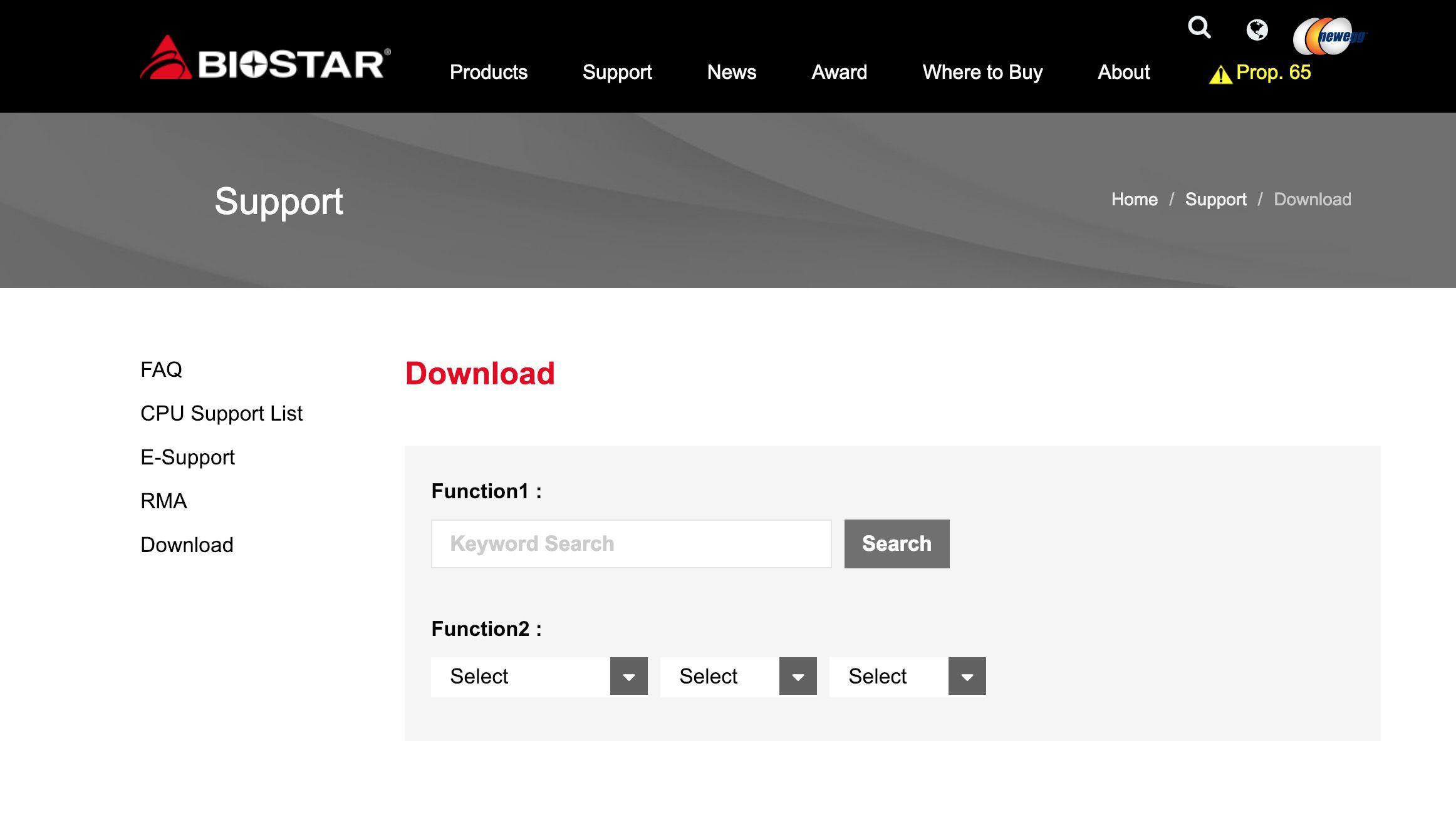 Biostar Support website