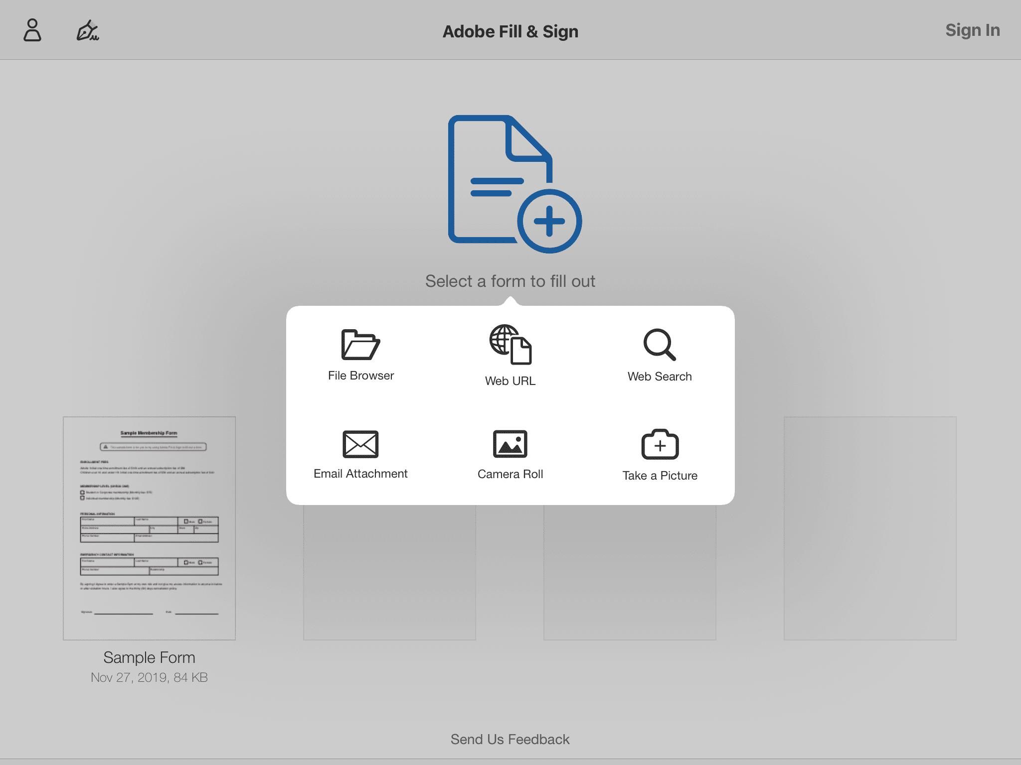 Finding a PDF inside Adobe Fill & Sign