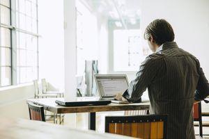 Marketing executive using a laptop