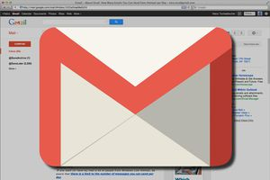 Gmail logo backed by a screenshot of Gmail