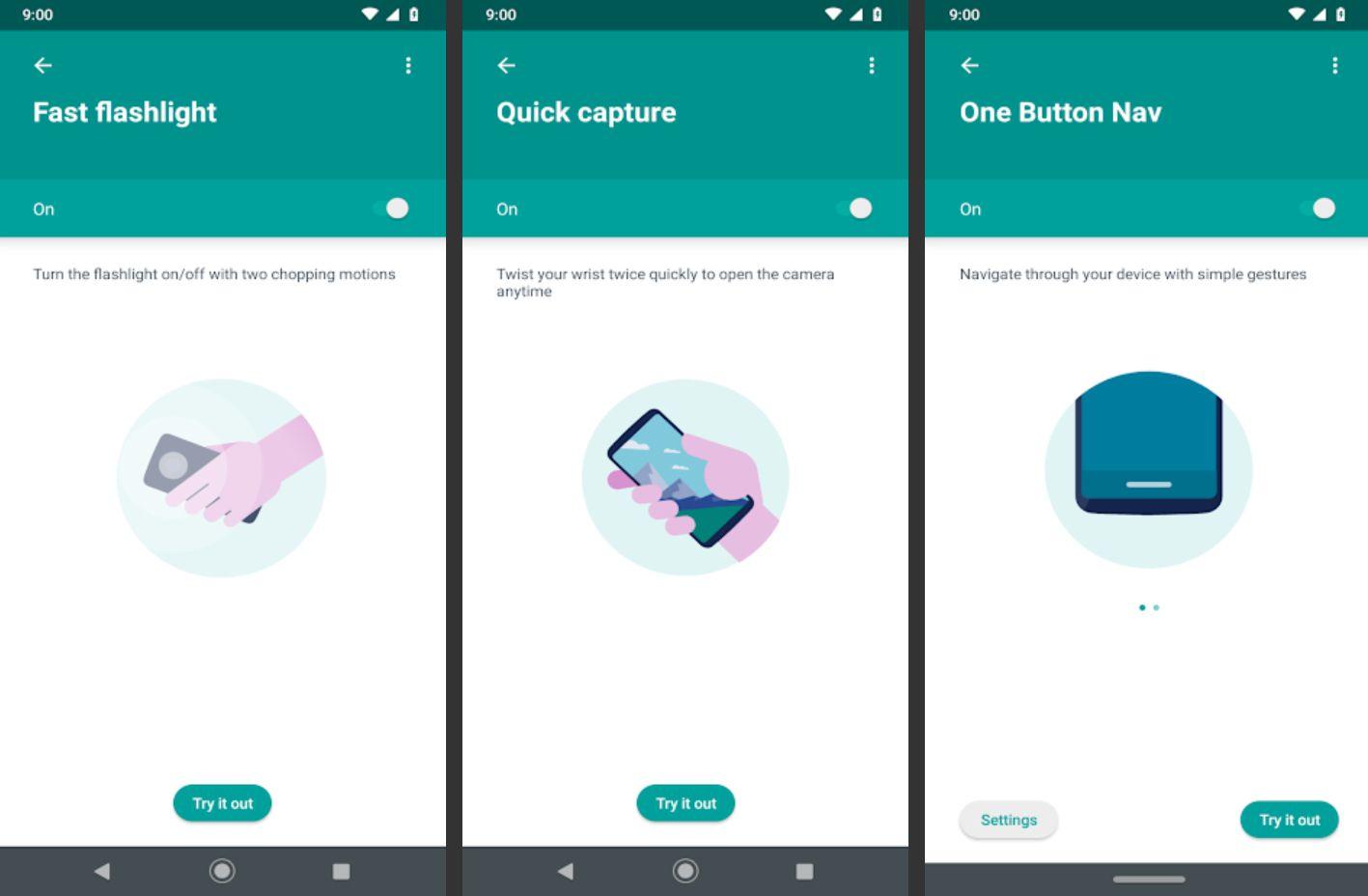 Moto Actions app showing gesture options