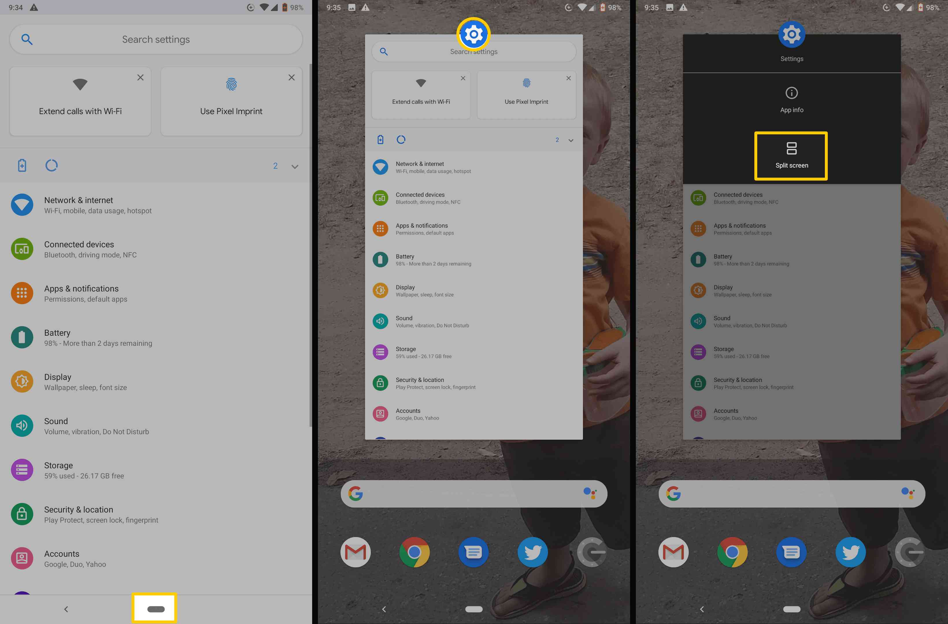 Screenshots showing how to get to the Split Screen option in stock Android.