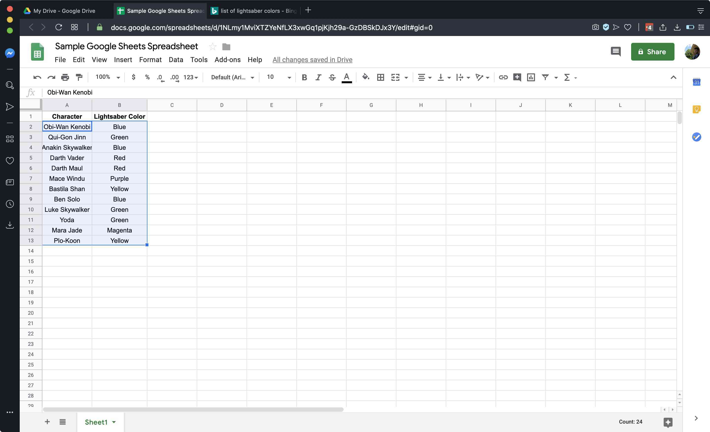 A Sample Google Sheets spreadsheet
