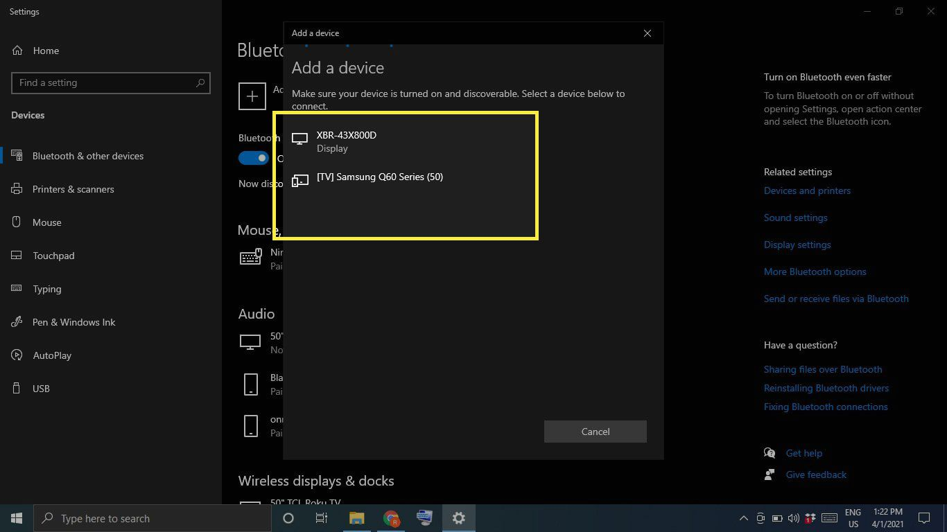 Bluetooth devices under Add a device in Windows 10 settings
