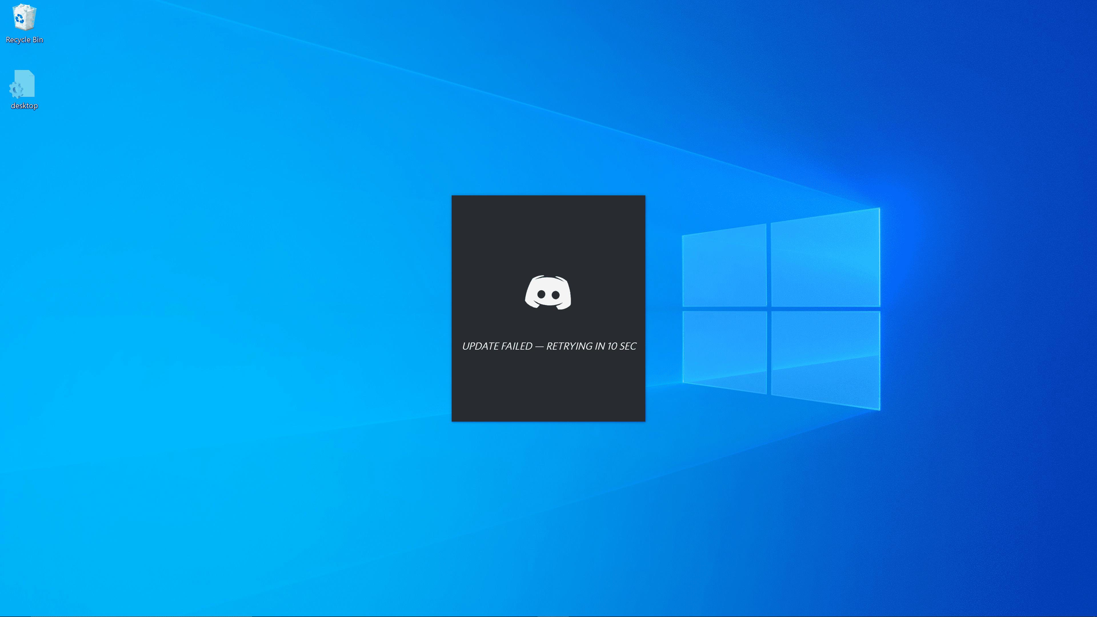 A screenshot of a failed discord update.