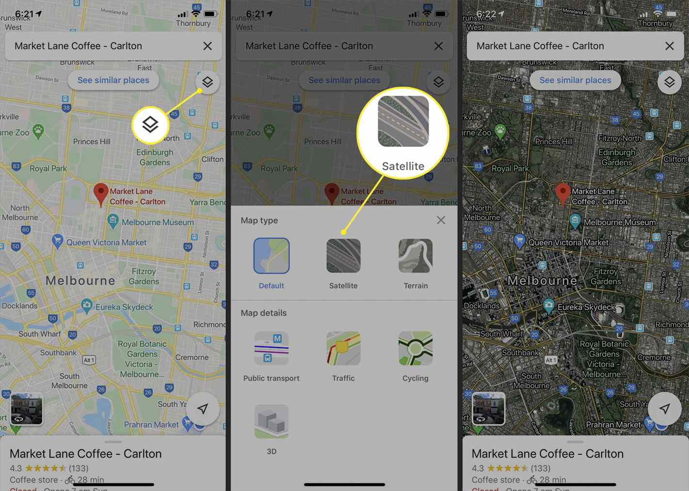 Google Maps style options in the iPhone Google Maps app