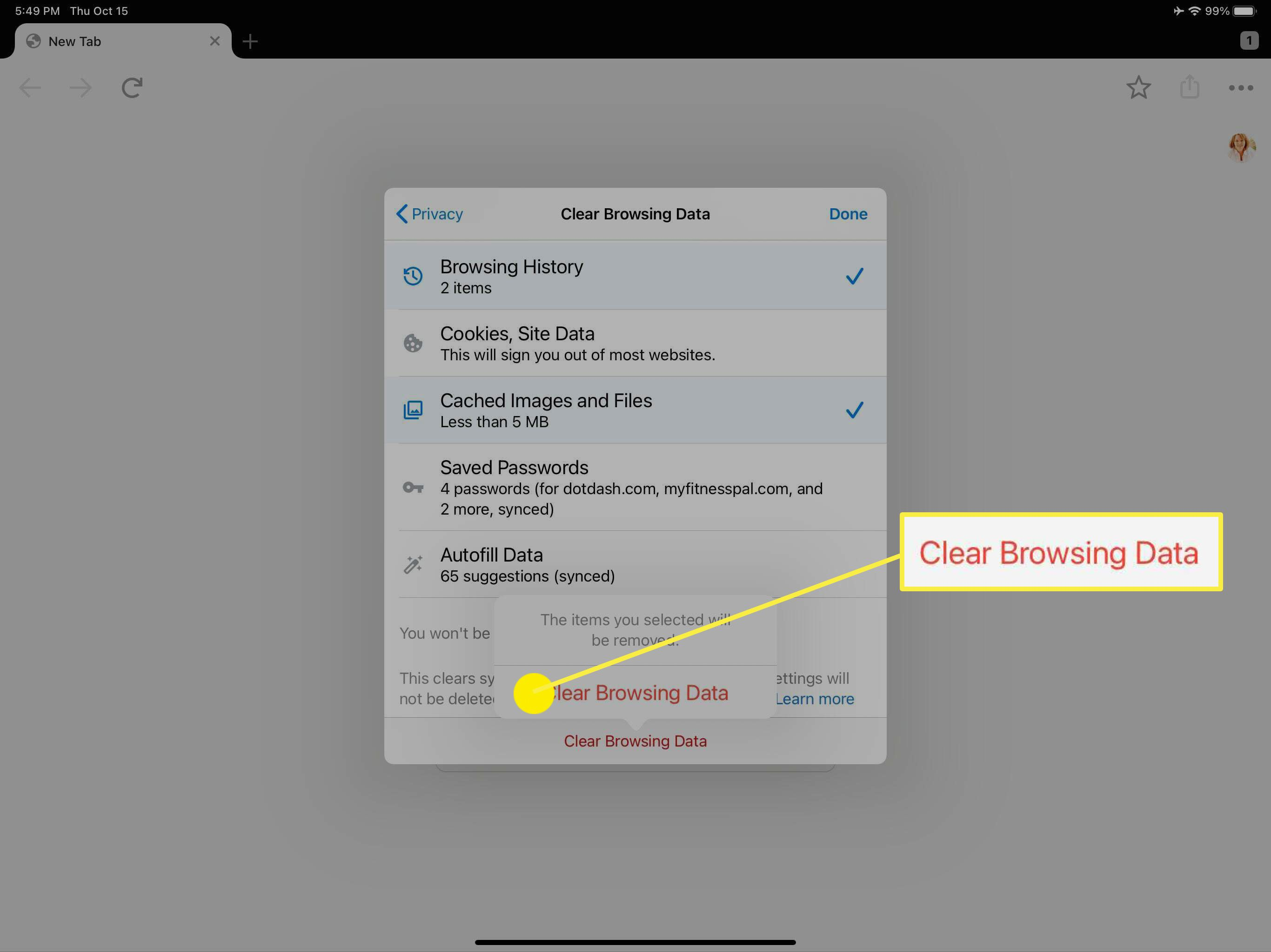 The confirmation to clear selected browser data in Google Chrome browser.